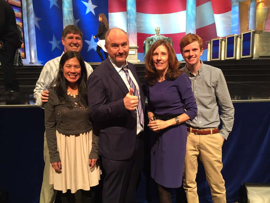 Louis C.K., center poses with members of the Fistula Foundation's board on the set of Jeopardy! in Washington D.C. From left to right, Bill Mann (Fistula Foundation's Board Chair), his wife Judy Mann, Louis C.K., Fistula Foundation CEO Kate Grant and her son, Bobby Houston. Photo: Courtesy Fistula Foundation
