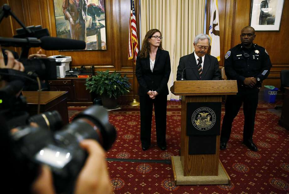Mayor Ed Lee (center), joined by Police Commission President Suzy Loftus and acting Police Chief Toney Chaplin, announces Chief Greg Suhr's resignation Thursday at City Hall. Photo: Connor Radnovich, The Chronicle