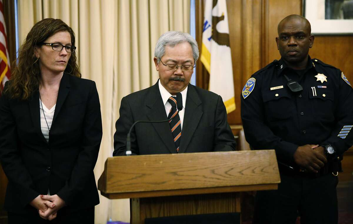 San Francisco Mayor Ed Lee (center) announces the resignation of Chief of Police Greg Suhr while being flanked by Suzy Loftus (left), president of the Police Commission, and the new acting Chief Toney Chaplin during a press conference at City Hall in San Francisco, California, on Thursday, May 19, 2016.
