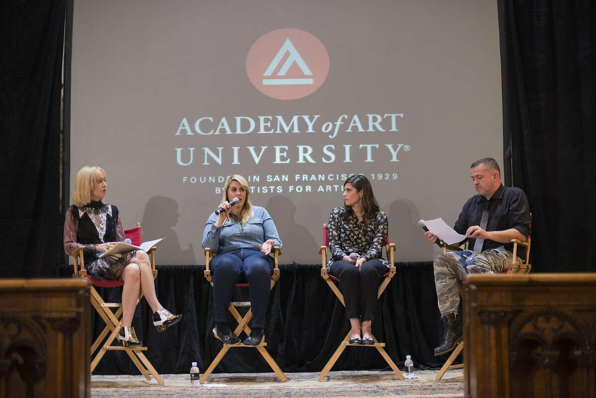 Palo Alto fashion collector Christine Suppes, Rodarte designers Kate and Laura Mulleavy and Academy of Art University School of Fashion executive director Simone Ungless on stage at Saint Brigid's Church for a student panel on May 11, 2016.