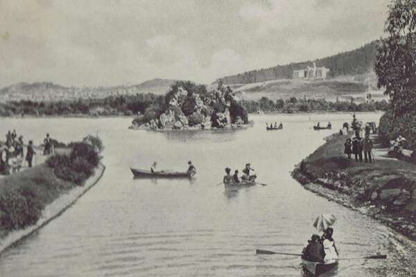 This is a scene of Stow Lake in Golden Gate Park in San Francisco in 1903.