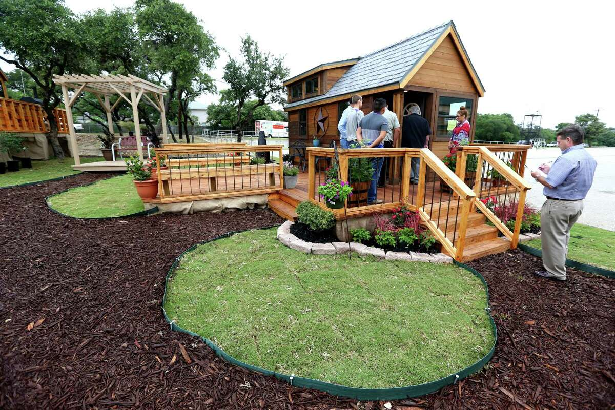 Students at Construction Careers Academy built this and three other tiny homes, part of the third annual parade of mini-homes at the academy, which is at Warren High School in the Northside ISD. The homes will be sold at a public auction Saturday.