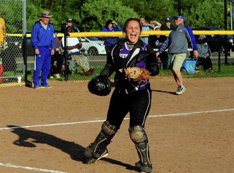 Westhill catcher Jordan Benzaken celebrates after the team beat Seymour 4-3 in softball action in Seymour, Conn., on Thursday May 19, 2016. Photo: Christian Abraham / Hearst Connecticut Media / Connecticut Post