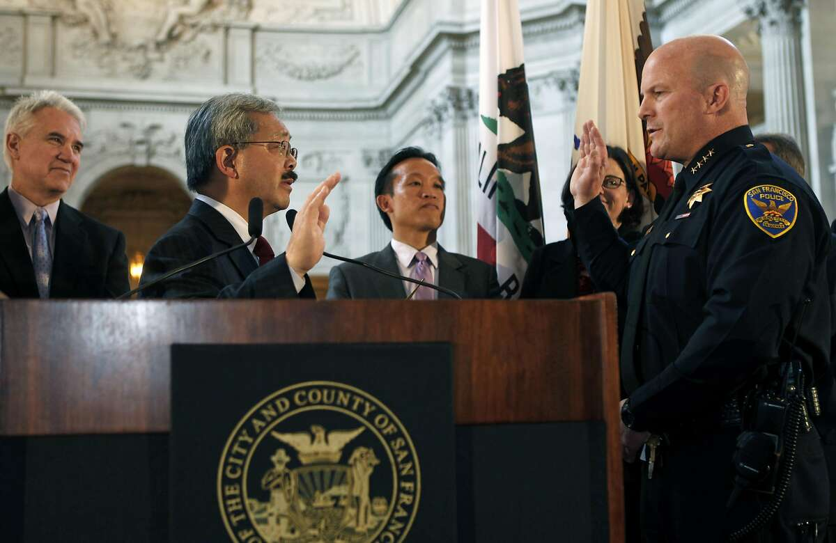 San Francisco Mayor Ed Lee swears-in police captain Greg Suhr as the new chief of police for SFPD at San Francisco City Hall Wednesday, April 27, 2011.