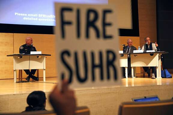 Judge LaDoris Cordell (right) makes a statement before questioning San Francisco Police Chief Greg Suhr during Blue Ribbon Panel on Transparency, Accountability, and Fairness in Law Enforcement at SF Public Library in San Francisco, Calif., on Monday, February 22, 2016.