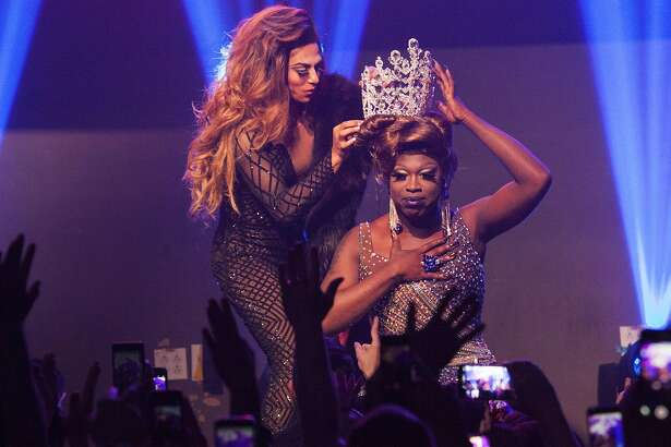 NEW YORK, NY - MAY 16:  Bob The Drag Queen (C) onstage being crowned winner  of RuPaul's Drag Race Season 8 by Shangela Laquifa during RuPaul's Drag Race Season 8 Finale Party at Stage 48 on May 16, 2016 in New York City.  (Photo by Santiago Felipe/Getty Images)