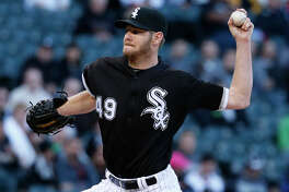 Chicago White Sox starting pitcher Chris Sale throws against the Houston Astros during the first inning of a baseball game, Thursday, May 19, 2016, in Chicago. (AP Photo/Nam Y. Huh)