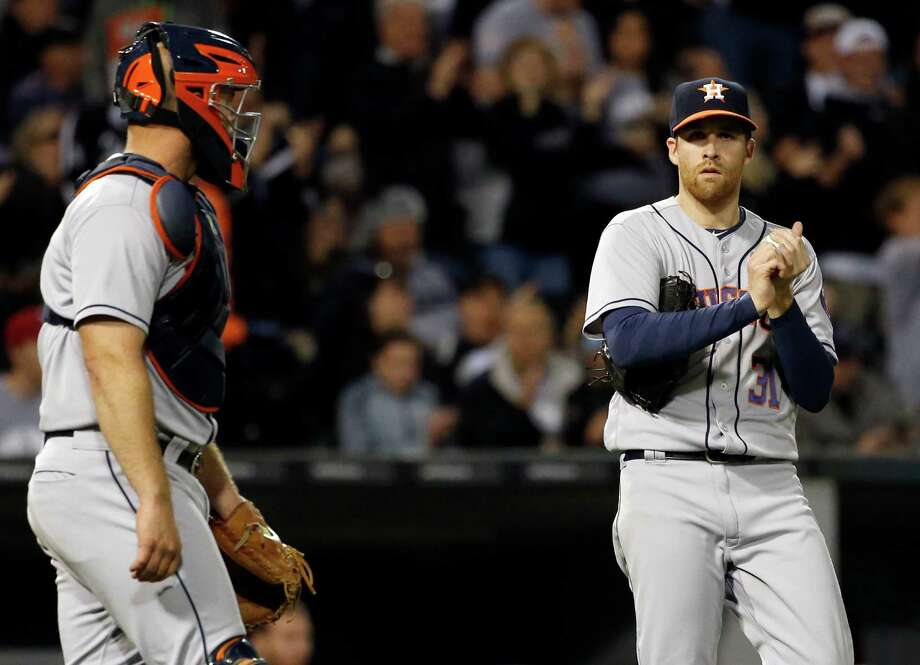 May 19: White Sox 2, Astros 1Houston Astros starter Collin McHugh, right, listens to catcher Evan Gattis after Chicago White Sox's Adam Eaton hit a triple during the sixth inning of a baseball game, Thursday, May 19, 2016, in Chicago. (AP Photo/Nam Y. Huh) Photo: Nam Y. Huh, Associated Press / Copyright 2016 The Associated Press. All rights reserved. This material may not be published, broadcast, rewritten or redistribu