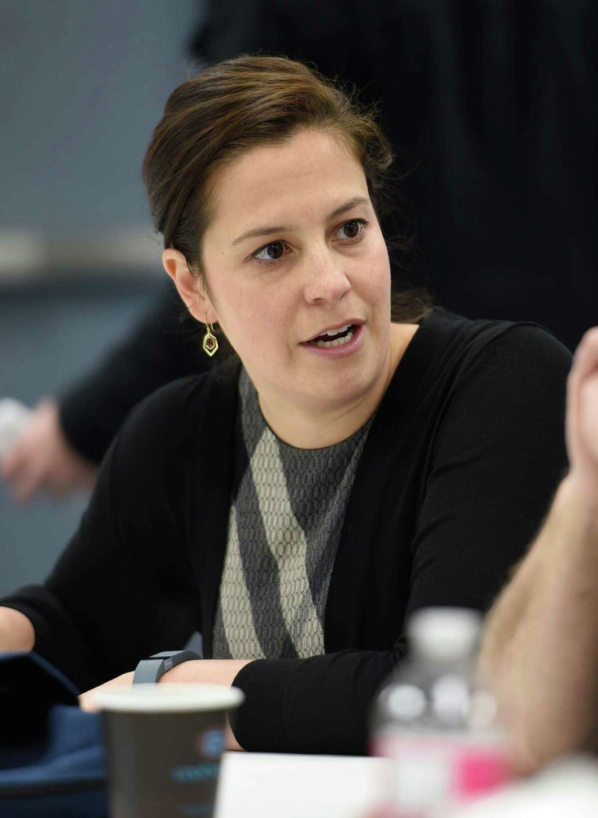 Congresswoman Elise Stefanik meets with workers before touring the SCA Tissue plant Wednesday, Feb. 17, 2016, in South Glens Falls, N.Y. (Skip Dickstein/Times Union)