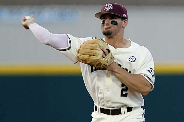 Texas A&M infielder Ryne Birk fields the ball during the sixth inning of college baseball game action against Vanderbilt at Blue Bell Park Thursday, May 5, 2016, in College Station.  ( James Nielsen / Houston Chronicle )
