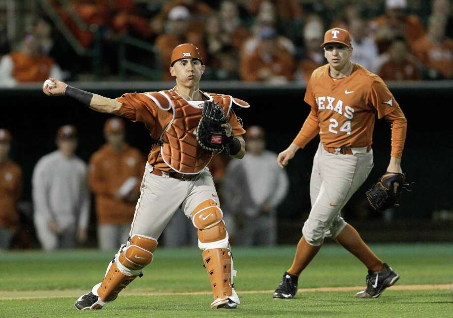 Texas catcher Tres Barrera and the rest of the Longhorns have suffered through one of their worst regular seasons ever. They are a long shot to make the NCAA playoffs. Photo: Bob Levey, For The Chronicle / ©2015 Bob Levey