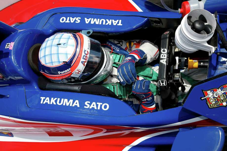 Takuma Sato, of Japan, sits in his car during a break in a practice session for the Indianapolis 500 auto race at Indianapolis Motor Speedway in Indianapolis, Wednesday, May 18, 2016. (AP Photo/Michael Conroy) Photo: Michael Conroy, STF / Copyright 2016 The Associated Press. All rights reserved. This material may not be published, broadcast, rewritten or redistribu