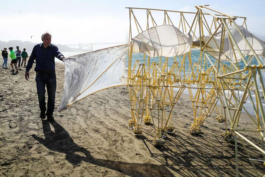 """Dutch artist Theo Jansen, above and left, guides a """"Strandbeest"""" down the beach at Crissy Field. Photo: Gabrielle Lurie, Special To The Chronicle"""