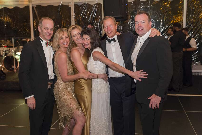 Chris Finlay, Janine Kennedy, Kathleen Finlay, Tracy Yort, Monty Yort and Bobby Kennedy at the Bruce Museum Renaissance Ball on May 14, 2016. The black tie fundraiser supports education and science initiatives at the Bruce Museum. The event was co-chaired by Felicity Kostakis and Kamie Lightburn. Sachiko and Lawrence Goodman were honored.