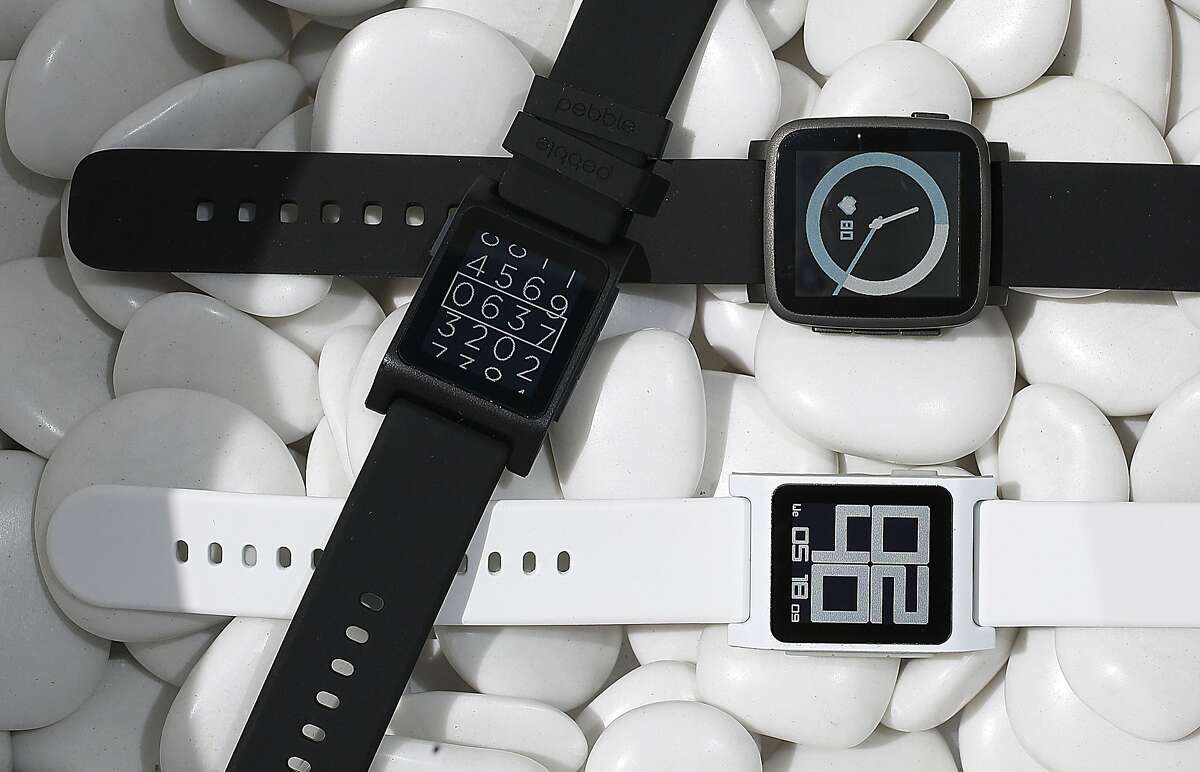 At left and below are Pebble 2 watches and a Pebble Time 2 watch is seen above at Pebble in Redwood City, Calif., on Wednesday, May 18, 2016.