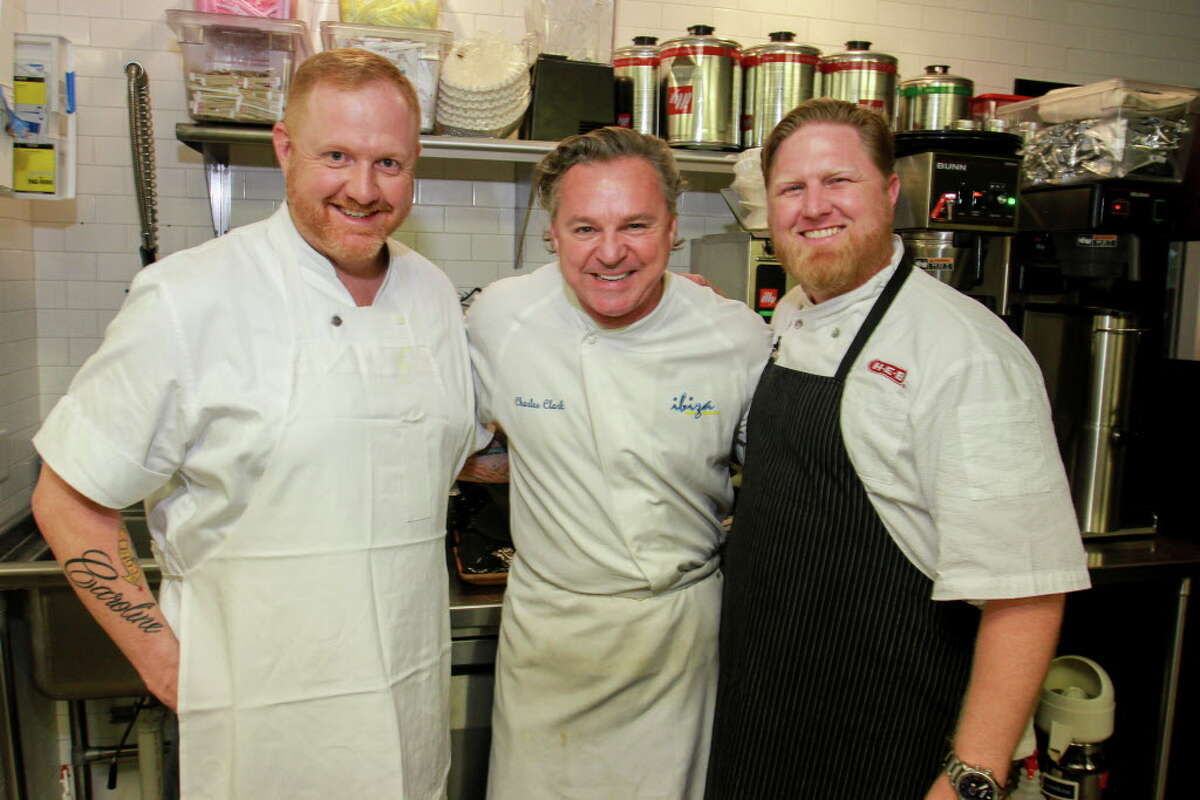 Chefs Eric Laird, from left, Charles Clark and Randy Evans in the kitchen at the Delicious Alchemy dinner. (For the Chronicle/Gary Fountain, May 19, 2016)