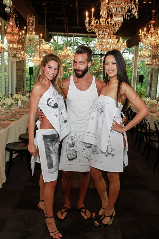 Models Elizabeth Kerr, from left, Don Abdallah and Valeria Espinosa at the Delicious Alchemy dinner. (For the Chronicle/Gary Fountain, May 19, 2016) Photo: Gary Fountain, Gary Fountain/For The Chronicle / Freelance