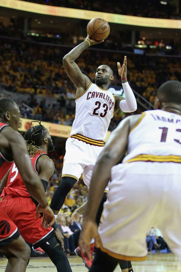 CLEVELAND, OH - MAY 19:  LeBron James #23 of the Cleveland Cavaliers shoots the ball during the second half against the Toronto Raptors in game two of the Eastern Conference Finals during the 2016 NBA Playoffs at Quicken Loans Arena on May 19, 2016 in Cleveland, Ohio. Photo: Andy Lyons, Getty Images / 2016 Getty Images
