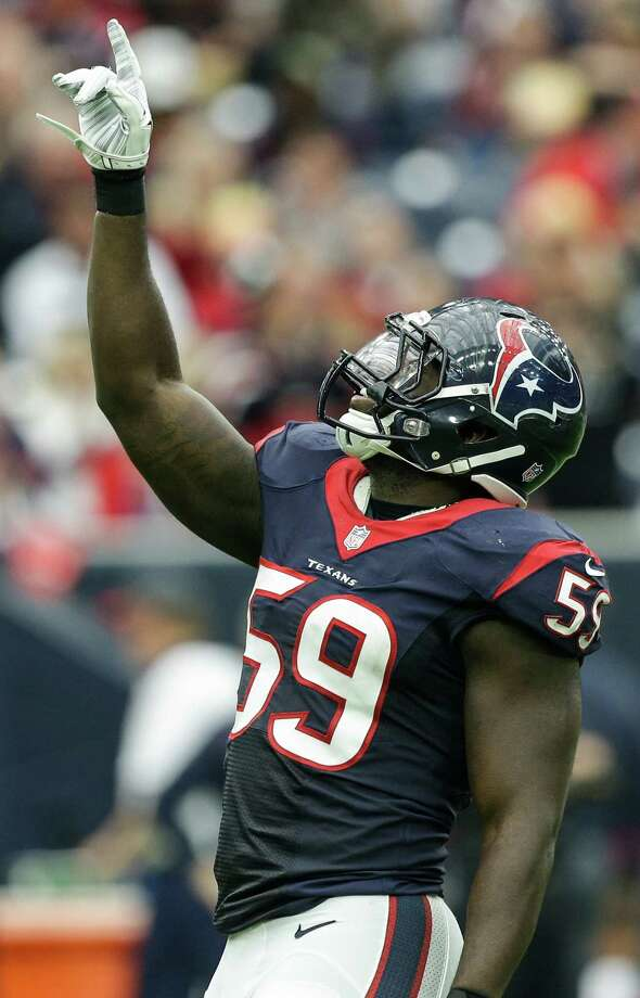 Houston Texans outside linebacker Whitney Mercilus (59) celebrates after sacking Jacksonville Jaguars quarterback Blake Bortles (5) during the second quarter of an NFL football game at NRG Stadium on Sunday, Jan. 3, 2016, in Houston. ( Brett Coomer / Houston Chronicle ) Photo: Brett Coomer, Staff / © 2016 Houston Chronicle