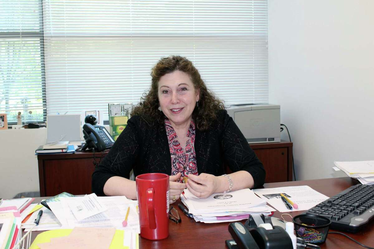 Darien Director of Senior Services Beth Paris in her office at the Mather Center.