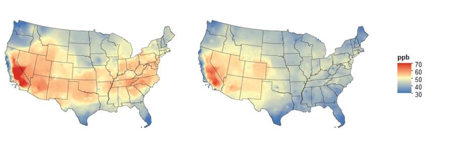 Average annual May-September 8-hour ozone concentration in 2000-2002 (left) and 2013-2015 (right). Photo: Daniel Cohan, EPA Data