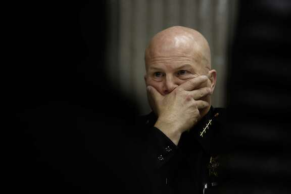 Police Chief Greg Suhr listens to comments as the San Francisco Police department hosts a town hall meeting, on Fri. December 4, 2015 to discuss the officer-involved shooting of 26-year-old Mario Woods in the Bayview neighborhood that sparked outrage nationwide after a video taken of the shooting was circulated on social media, in San Francisco, Calif.