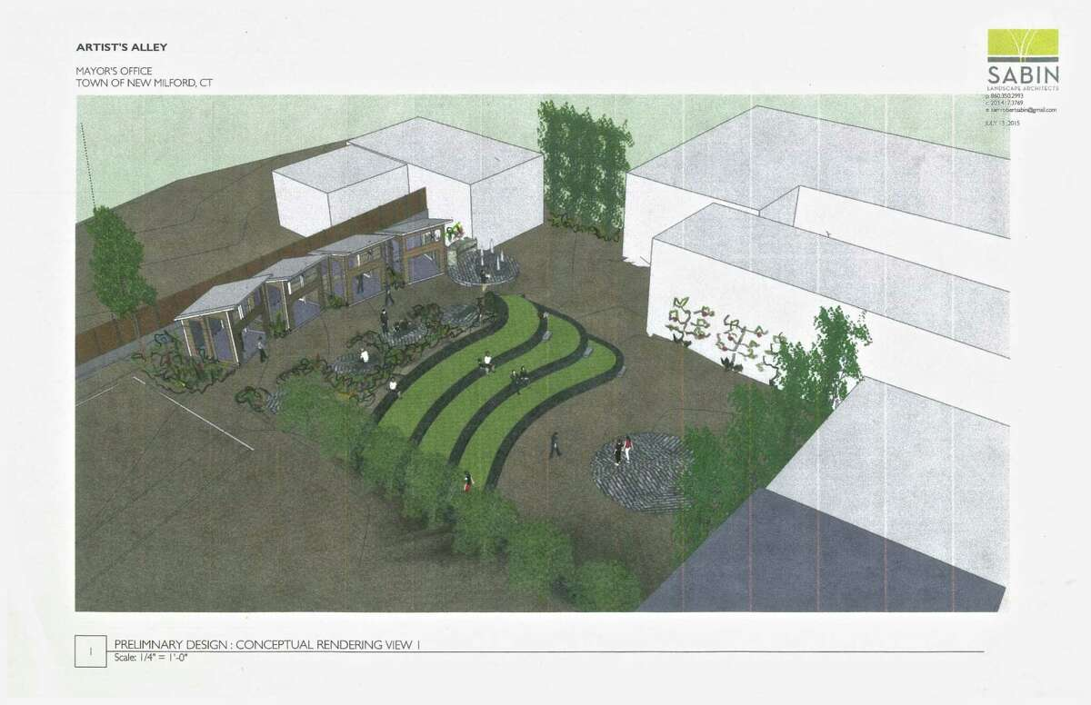Artist rendering for the proposed space behind Gallery 25 at 25 Church Street in New Milford.