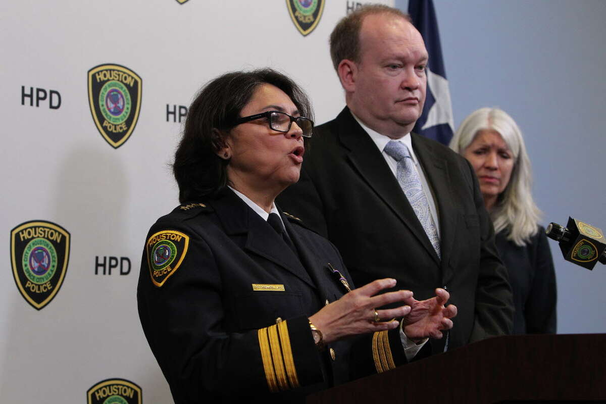"""Houston Chief of Police Martha Montalvo, Houston homicide Lt. Robert Blain and Houston City Council member Karla Cisneros address the media Friday, May 20, 2016, in Houston. Houston police are calling on the public to help find the man who fatally stabbed an 11-year-old boy as he walked home from school this week, after charges were dismissed against the man initially believed to be the suspect. """"The murderer is still on the loose at this point,"""" Houston homicide Lt. Robert Blain told reporters Friday after the surprise announcement that charges had been dropped."""