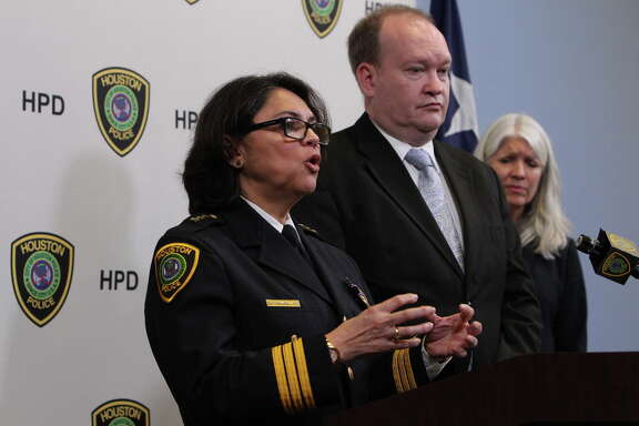 "Houston Chief of Police Martha Montalvo, Houston homicide Lt. Robert Blain and Houston City Council  member Karla Cisneros address the media  Friday, May 20, 2016, in Houston.  Houston police are calling on the public to help find the man who fatally stabbed an 11-year-old boy as he walked home from school this week, after charges were dismissed against the man initially believed to be the suspect. ""The murderer is still on the loose at this point,"" Houston homicide Lt. Robert Blain told reporters Friday after the surprise announcement that charges had been dropped."