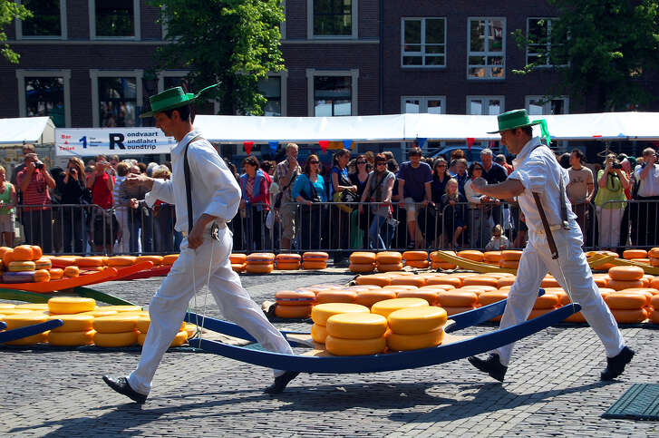"""At the Friday market in Alkmaar, Netherlands, carriers use a """"cheese-barrow"""" to bring wheels to and from the Weigh House, just as they have for centuries."""