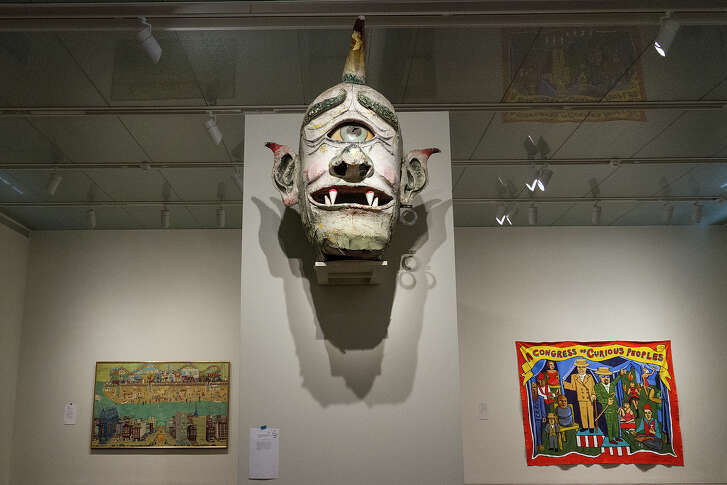"""An original cyclops head from the Spook-A-Rama ride on Coney Island as part of the McNay's Coney Island exhibit.   """"Coney Island: Visions of An American Dreamland,"""" opens May 11 and runs through September 11, 2016."""