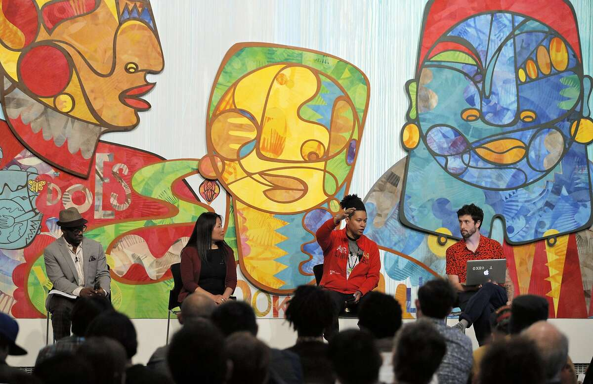 L-R, Panelists Marc Bamuthi Joseph, Lily Tung Crystal, Jay-Marie Hill, and Jesse Hweit at Yerba Buena Center for the Arts in San Francisco, Calif., on Monday, May 9, 2016. A number of theater and community groups have come together to broadly discuss the topic of yellow face in the local theater community.