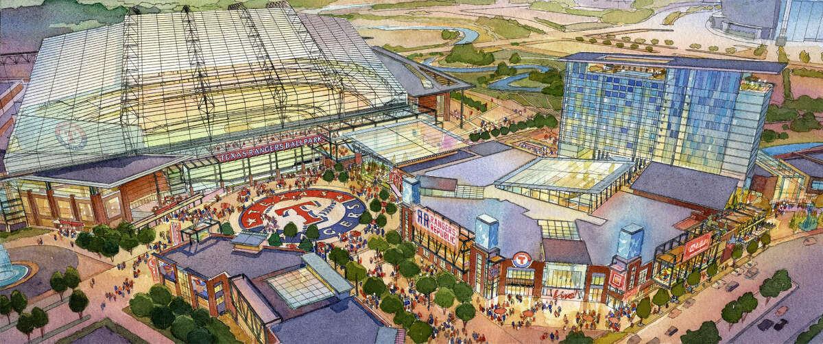 Artist's rendering of the Texas Rangers' proposed new stadium in Arlington.