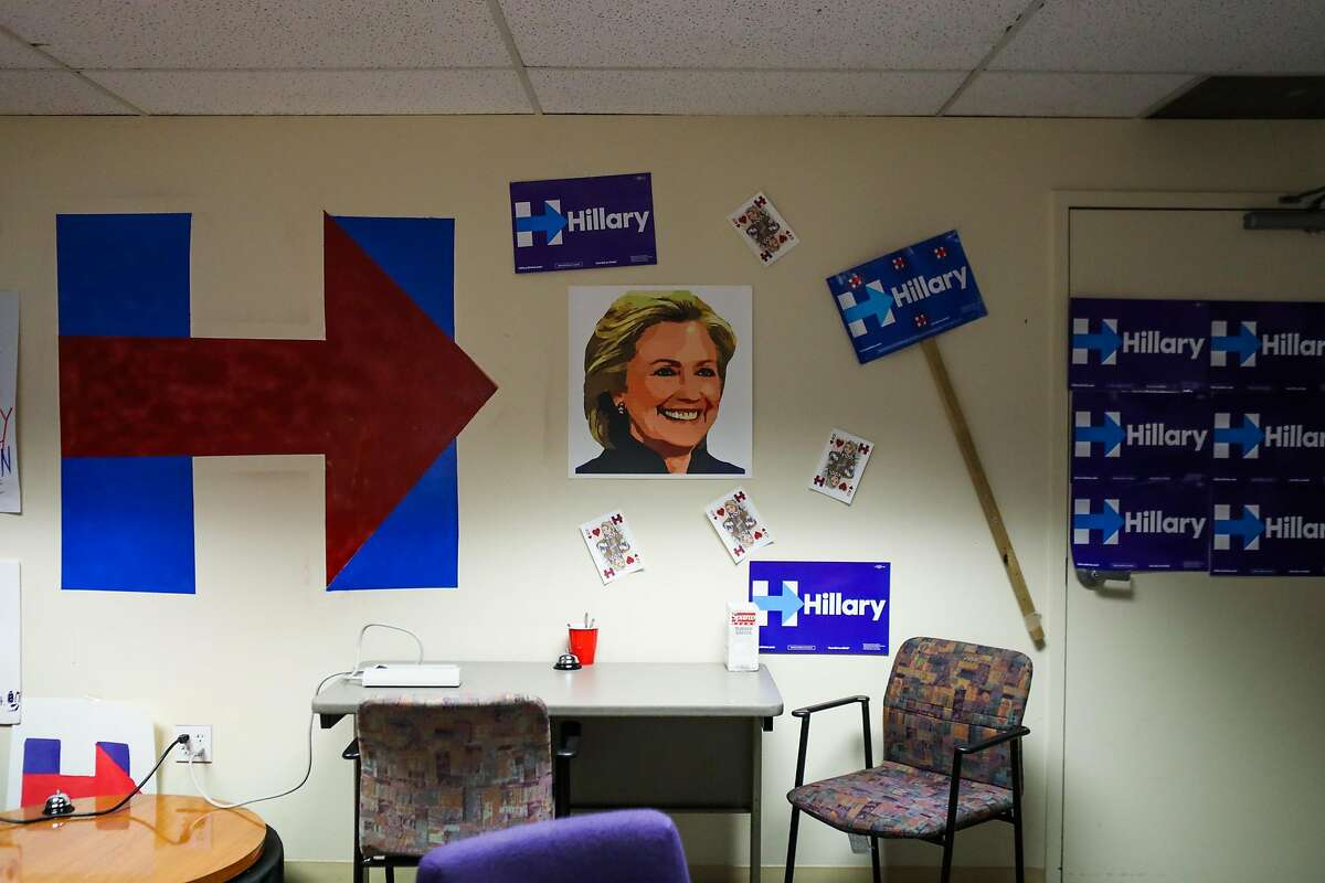 Posters hang on the walls of the Hillary Clinton's local office, in San Francisco, California, on Thursday, May 19, 2016.