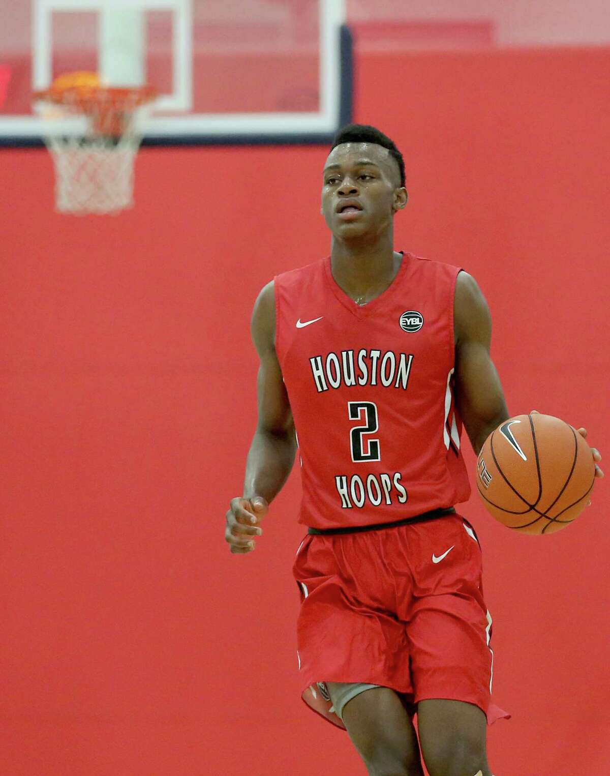 Houston's Jarred Vanderbilt (2) dribbles against St. Louis at the MI3 Center on Saturday, May 9, 2015 in Houston, TX. St Louis won 92 to 84.