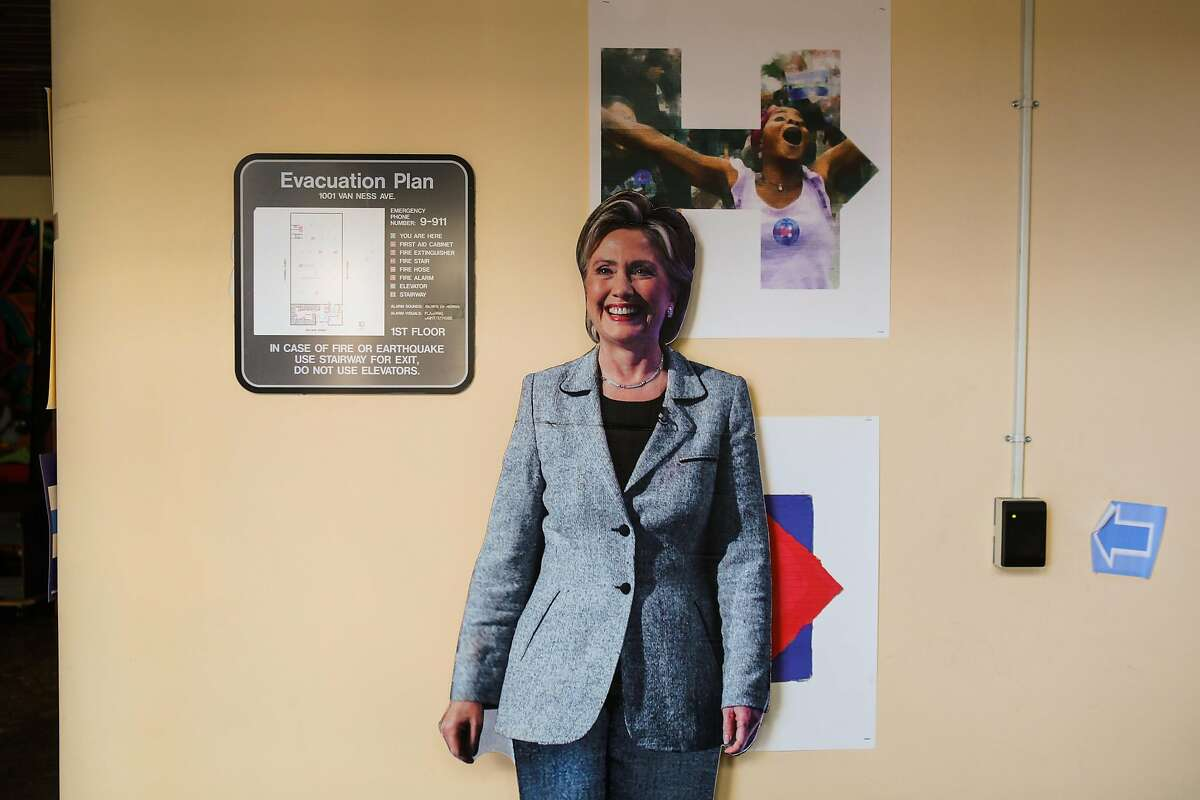 A cutout out of Hillary Clinton is affixed to the wall at the entrance Hillary Clinton's local office, in San Francisco, California, on Thursday, May 19, 2016.