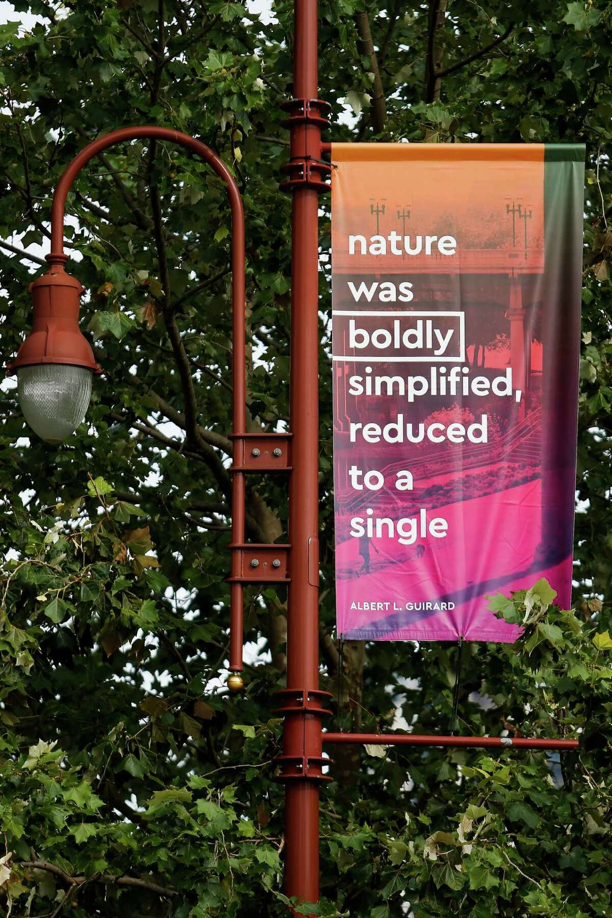 Banners featuring lines by current or former Houstonians that were written about and inspired by Houston itself hang downtown Wednesday, May 18, 2016 in Houston. ( Michael Ciaglo / Houston Chronicle )