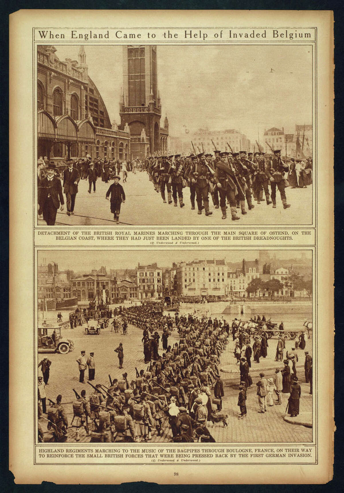 """""""When England came to the help of invaded Belgium."""" Library of Congress notes: """"Selected from """"The War of the Nations: Portfolio in Rotogravure Etchings,"""" published by the New York Times shortly after the 1919 armistice."""""""
