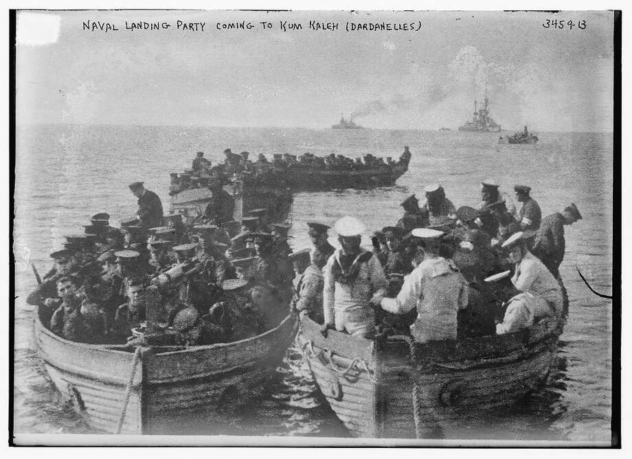 This photo, from the Bain News Service, shows a British naval party landing at Kum Kaleh at the entrance to the Dardenelles, Turkey, in 1915 during World War I. Photo: Library Of Congress