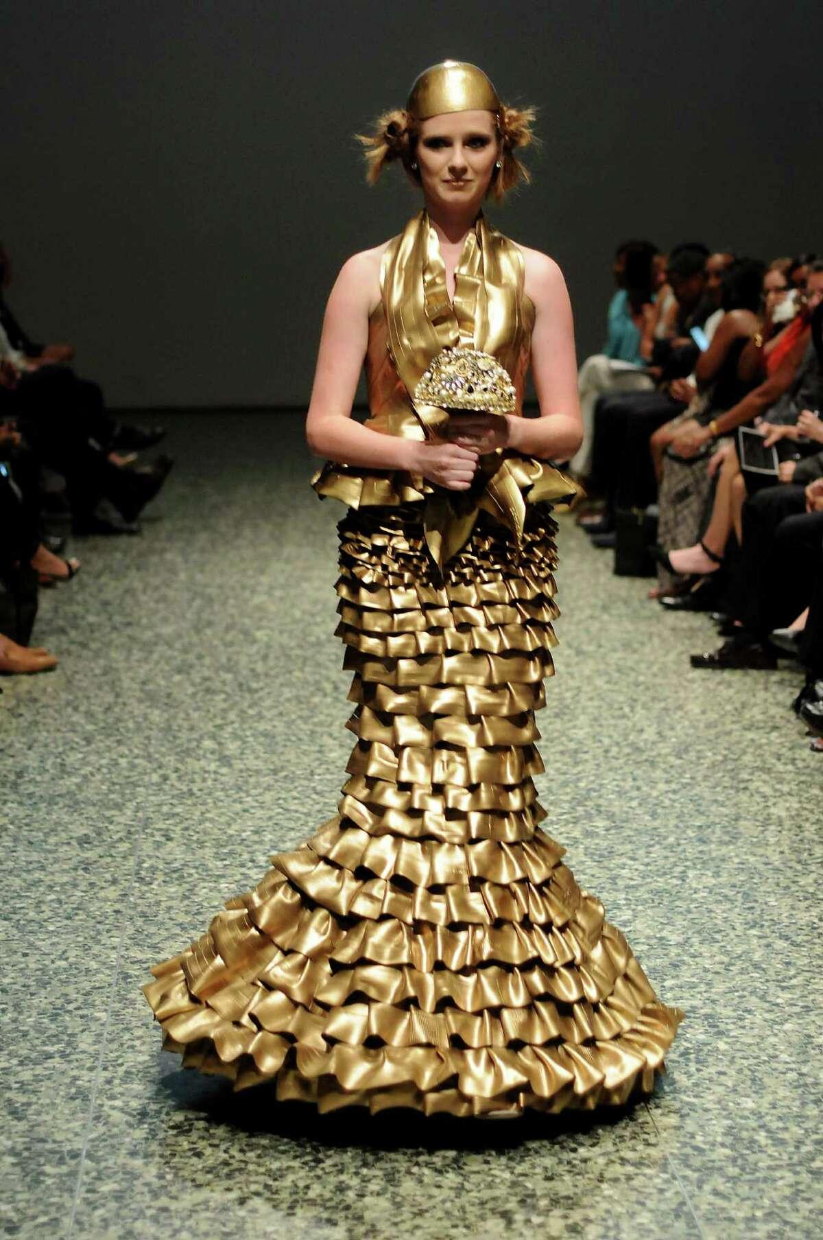 Luisa Nadarajah designed this dress from bicycle tubes.