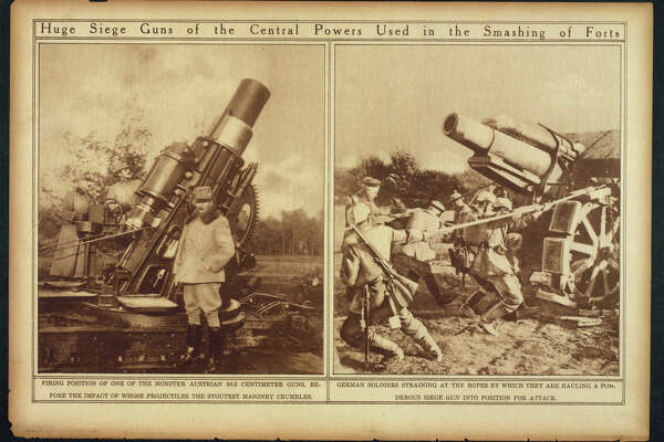 """Huge seige guns of the central powers used in the smashing of forts."" Library of Congress notes: ""Selected from ""The War of the Nations: Portfolio in Rotogravure Etchings,"" published by the New York Times shortly after the 1919 armistice."""