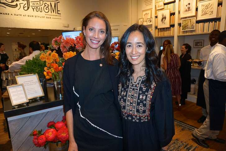 Every Mother Counts founder Christy Turlington Burns (left) with minted.com founder Mariam Naficy at the minted pop-up opening benefiting this maternal health organization. May 2016.