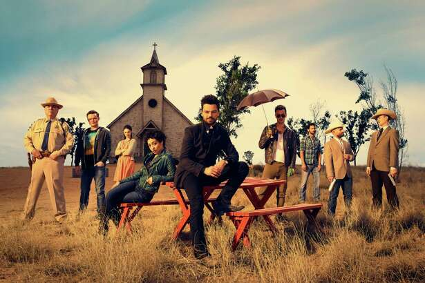 """Preacher"" stars Dominic Cooper, center, flanked by Ruth Negga and Joseph Gilgun, in the dark comedy series based on the comic books and set in a fictional Texas town."