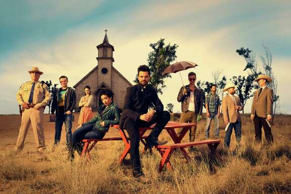 """""""Preacher"""" stars Dominic Cooper, center, flanked by Ruth Negga and Joseph Gilgun, in the dark comedy series based on the comic books and set in a fictional Texas town."""