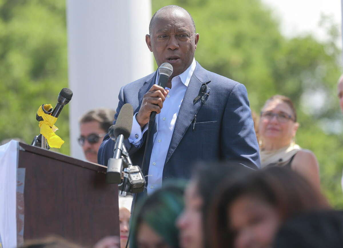 Houston Mayor Sylvester Turner addresses students and faculty during a vigil at Marshall Middle School for Josue Flores, 11, a student who was stabbed while walking home from school on Friday, May 20, 2016, in Houston.