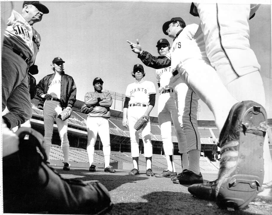 Former Giants third baseman Jim Ray Hart (third from left), died Thursday, the team announced Friday. He was 74. UPI photo dated 1/22/1973