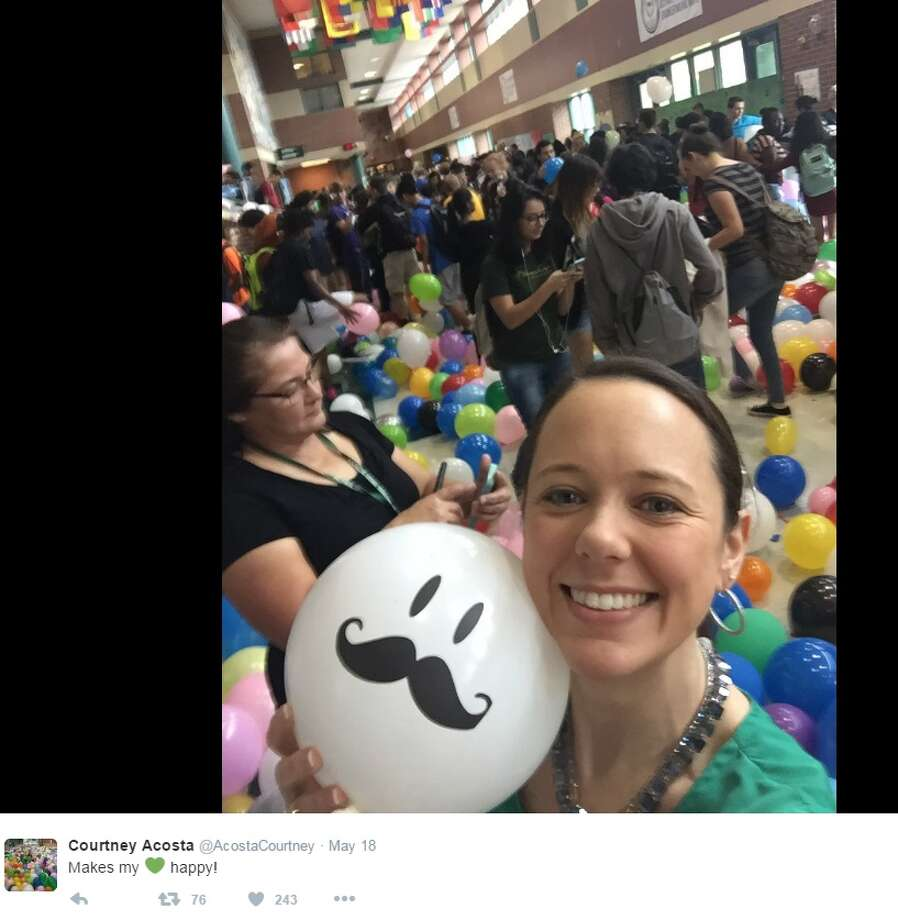 Before they walk the stage, a senior class in Austin pulled a prank that inflated the walk to class with fun and their principal's heart with joy this week. Photo: Twitter.com