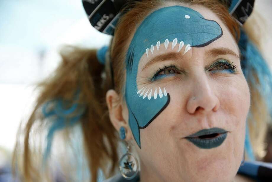 San Jose Sharks' fan Kristie Wendling of Martinez before Game 3 of NHL Playoffs' Western Conference Finals at SAP Center in San Jose, Calif., on, Calif., on Thursday, May 19, 2016. Photo: Scott Strazzante, The Chronicle
