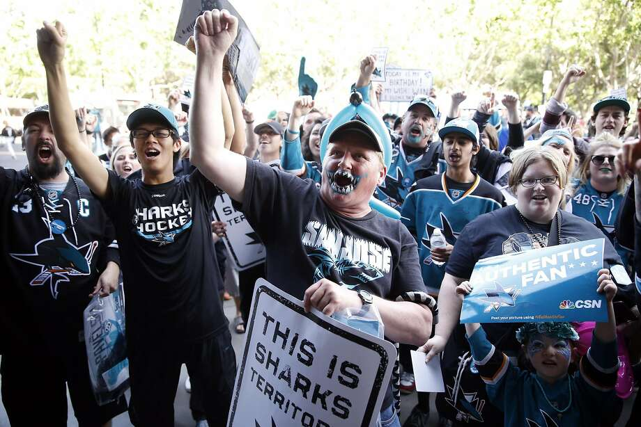 San Jose Sharks' fan Doug Long of Sacramento joins fellow Sharks' fans in cheering at fan fest outside SAP Center before Game 3 of NHL Playoffs' Western Conference Finals at in San Jose, Calif., on, Calif., on Thursday, May 19, 2016. Photo: Scott Strazzante, The Chronicle