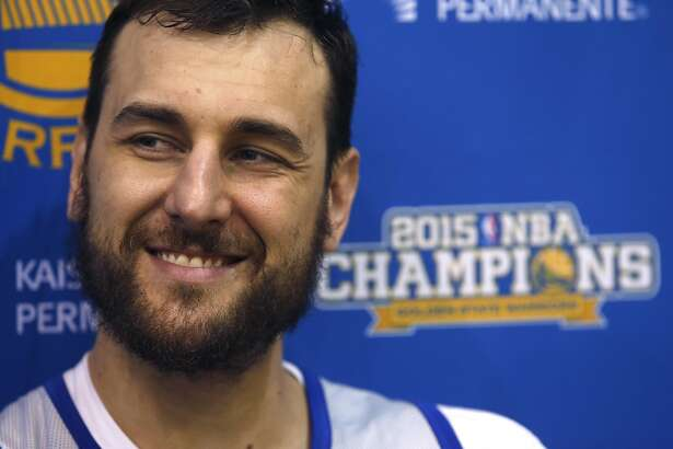 Andrew Bogut meets with sports reporters at the Warriors practice facility in Oakland, Calif. on Friday, May 20, 2016. Golden State faces the Thunder in Game 3 of the Western Conference Finals Sunday in Oklahoma City.